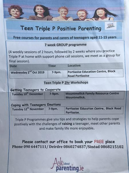 Free Parenting of Teens Workshops .